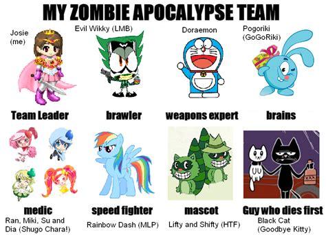 doraemon zombie wallpaper my zombie apocalypse team meme by pogorikifan10 on deviantart