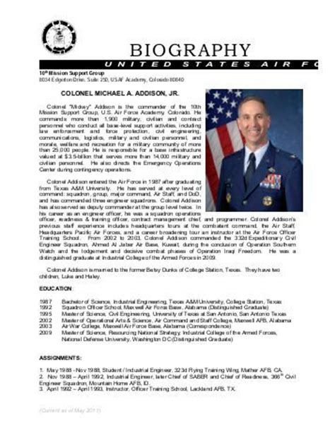 army officer biography template