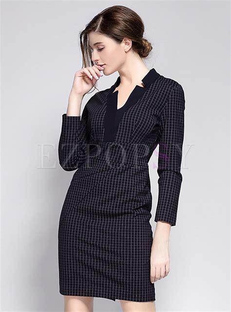 Sleeve V Neck Plaid Dress v neck sleeve plaid dress ezpopsy