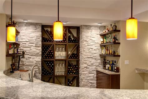 basement bar and wine rack transitional basement