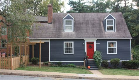 home blue dark grey house with red door ideas and images