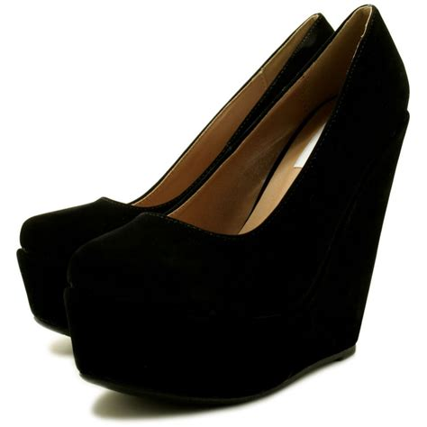 wedge heel platform court shoes black from