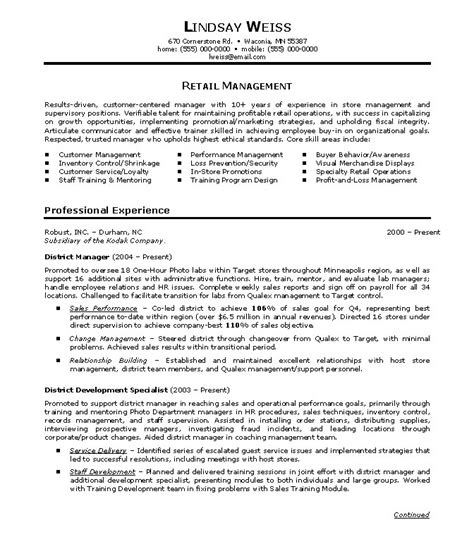 retail manager resume sle exle