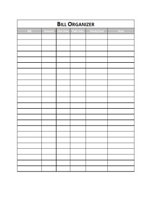 bill paying chart calendar template 2016