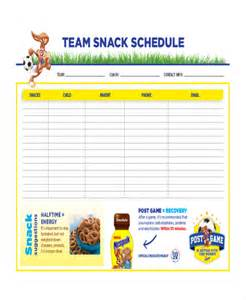 snack schedule template snack schedule template 7 free word excel pdf