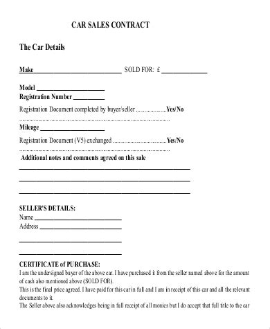 car selling contract template template for car sale agreement 21 sales contract