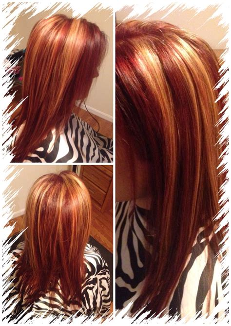 red  chunky blonde highlights  hair
