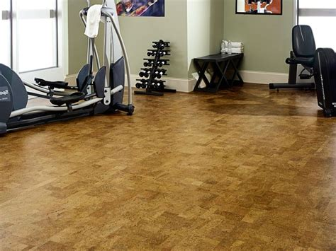 cork floors in a workout room for the home