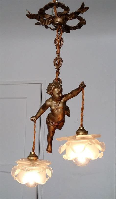 Vintage French Chandelier Fixture Sconces Angel Cherub Antique Cherub Chandelier