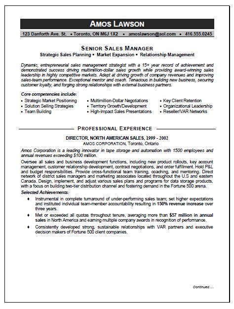 Sales And Marketing Executive Sle Resume by Sales And Marketing Manager Resume Sle Resume Writing Service