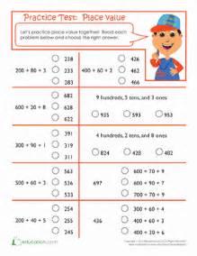 practice test place value worksheet education com