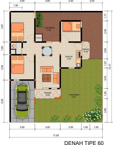 denah rumah modern minimalis type 60 rumah dan desain