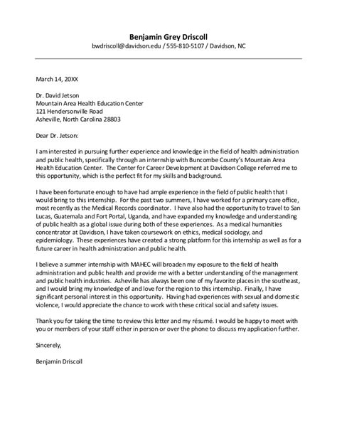 Health Advisor Cover Letter by Davidson College Cover Letter Guide
