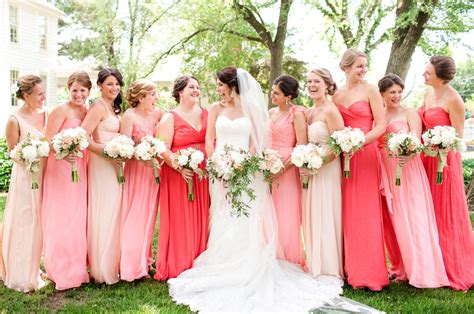 wedding colour themes bridesmaid dresses etc coral pink peach nude bridesmaids dresses different colors