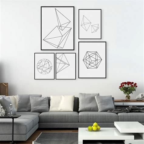 Black Art Home Decor | modern nordic minimalist black white geometric shape a4