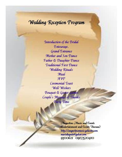 Wedding Songs List 2013 Philippines by Wedding Reception Program Sle Wedding Website