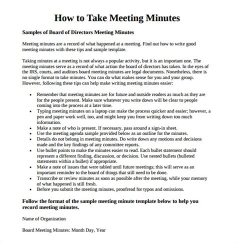 template for taking meeting minutes meeting minutes template 16 free documents in