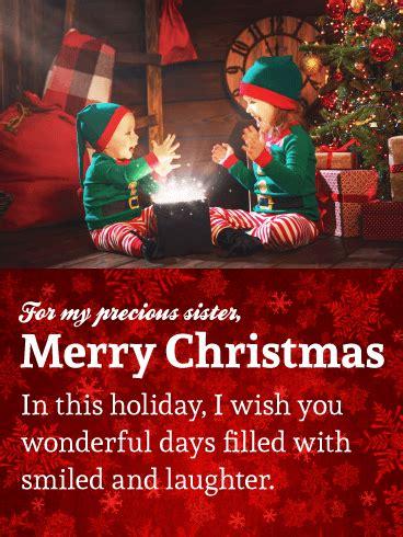 precious sister sweet merry christmas wishes card birthday greeting cards  davia
