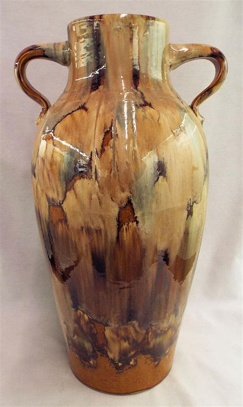 glazed pottery handled vase