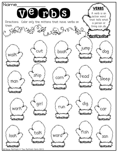 Verb Worksheets by Verbs Color The Mittens That Verbs 1st Grade