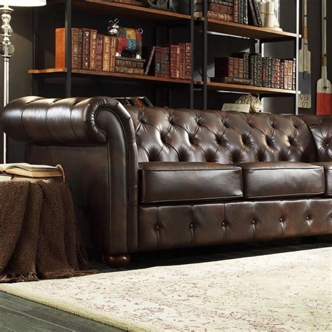 scroll arm leather sofa tribecca home signal hills knightsbridge brown bonded