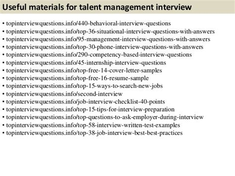 Top 10 talent management interview questions with answers