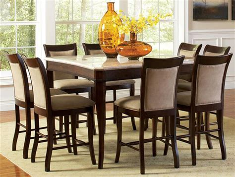 9 Piece Dining Room Table Sets | contemporary marble top 54 quot counter height 9 piece dining