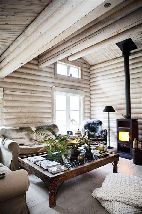 Whitewash Log Cabin Interior by Black Stained Log Cabin In Danmark