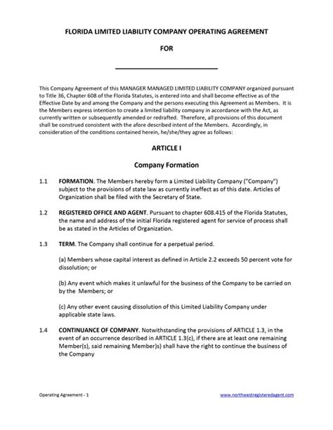 operation agreement form free printable documents