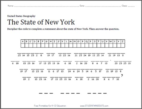 The Code Worksheets by New York Decipher The Code