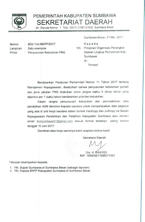 Contoh Surat Pemintaan by Surat Permohonan Data Ke Semua Opd Perihal Penyusunan