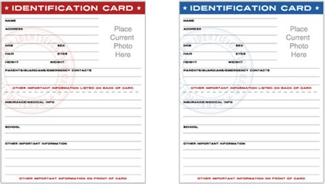 free printable child id cards infocard co