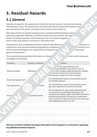 cdm health and safety file template health and safety file cdm template haspod