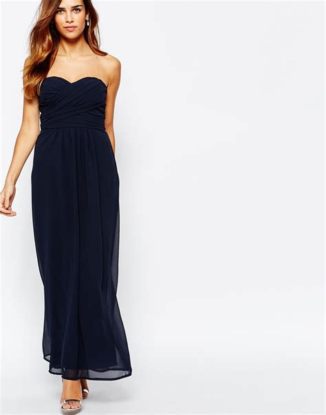 Maxi Magda Navy elise chiffon maxi dress with sweetheart neckline and
