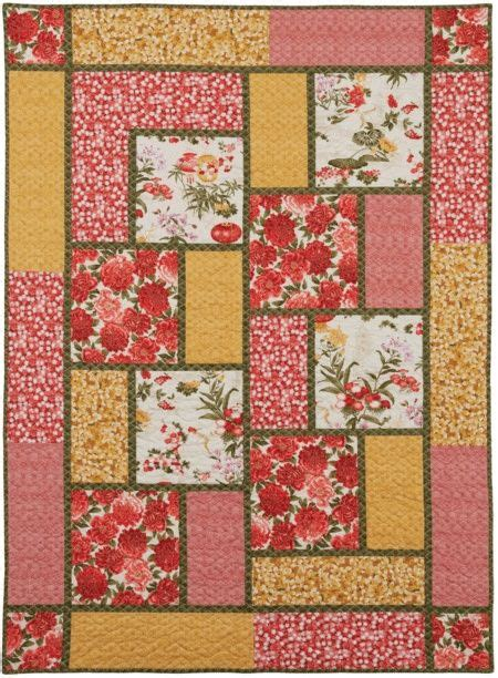 large pattern fabric quilt big block quilt like the limited number of fabrics and