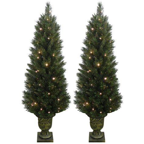 Set Of 2 Light Up Prelit Artificial Pine Indoor Outdoor Lighted Trees Artificial