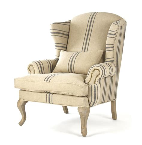 blue striped chair zacharie khaki linen wing chair with blue stripe