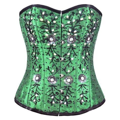beaded corset steel boned corset green beaded