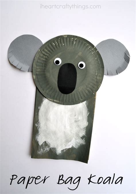 Koala Paper Plate Craft - paper bag koala craft for i crafty things