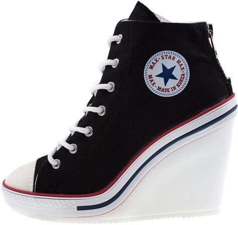 black high heel sneakers maxstar womens 777 back zipper canvas high wedge heel