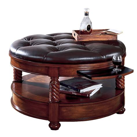 Supple Leather Tufted Coffee Table Ottoman   Coffee Tables at Hayneedle