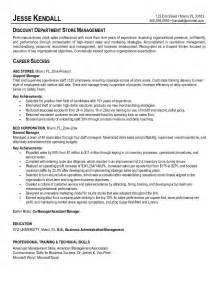 Resume For Store Manager by Exle Discount Department Store Manager Resume Free Sle