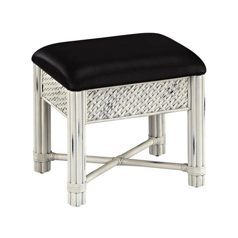 Makeup Vanity Stool shop home styles 18 75 in h rubbed white black rectangular makeup vanity stool at lowes