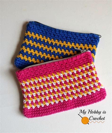 Geos My Baby Pouch Cross woven stitch zipper pouch free crochet pattern