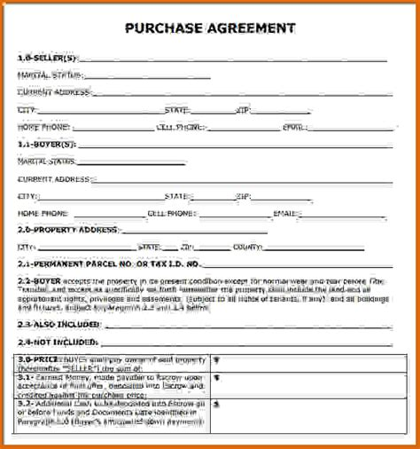 home purchase agreement template purchase agreement template printable home purchase