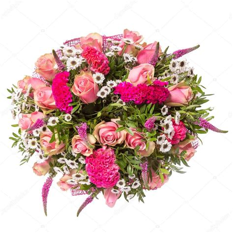 Flowery Top bouquet of flowers top view isolated on white stock