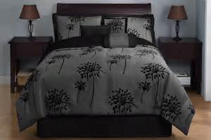 dandelion comforter set 7 piece king dandelion black and gray comforter set