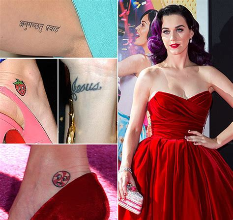 strawberry tattoo katy perry celebrity tattoos 16 the hottest female celebrities with