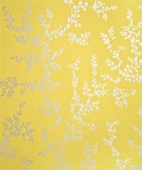 yellow flower wallpaper for walls shadow fern floral wallpaper metallic silver shadow fern