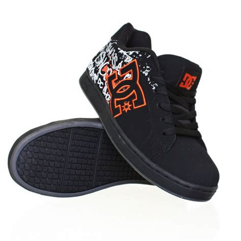 mens dc character black orange skate trainers shoes